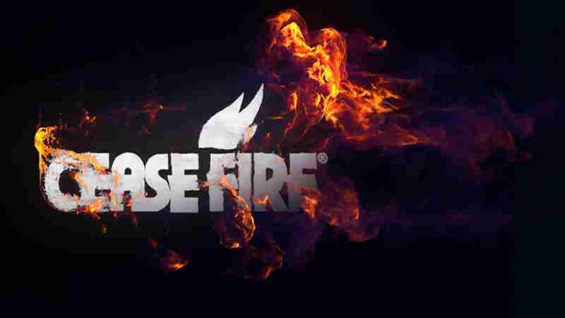 Illustration of Cease Fire Logo Knocking Out Flames